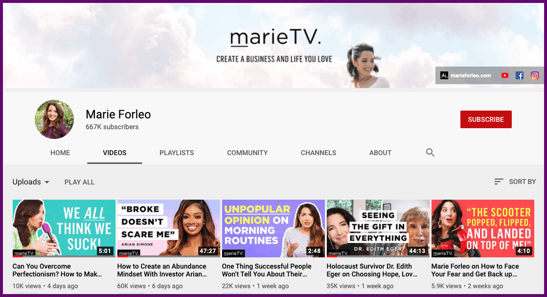 marie tv example vlogger