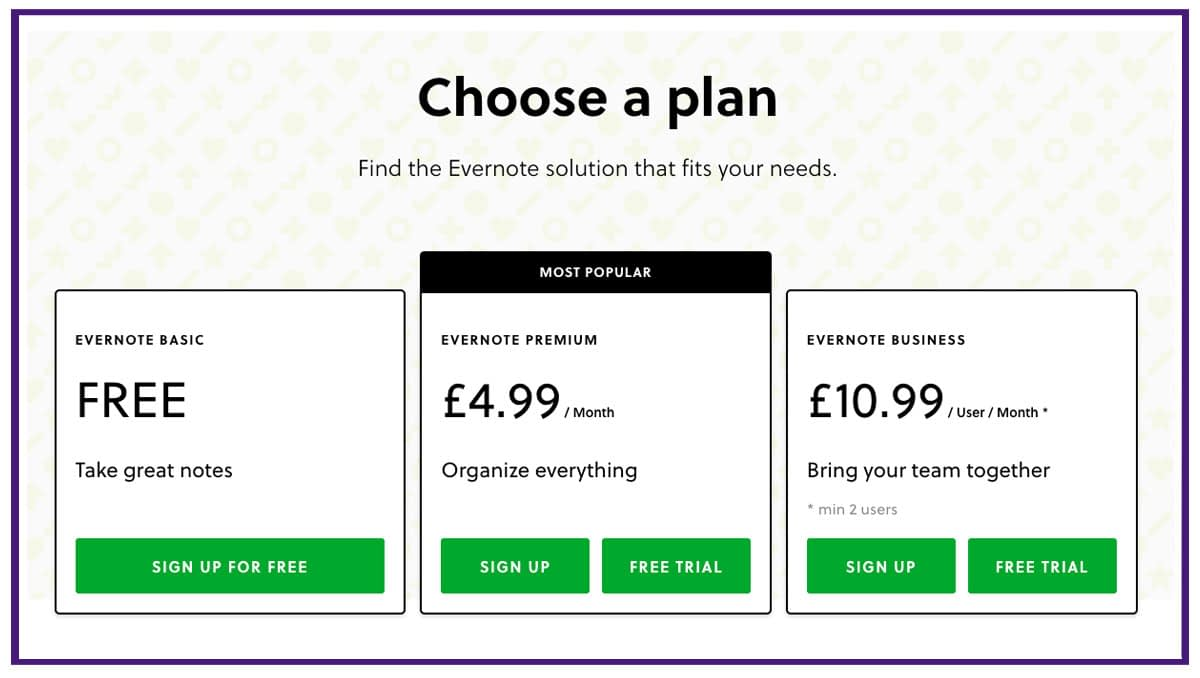 evernote pricing structure