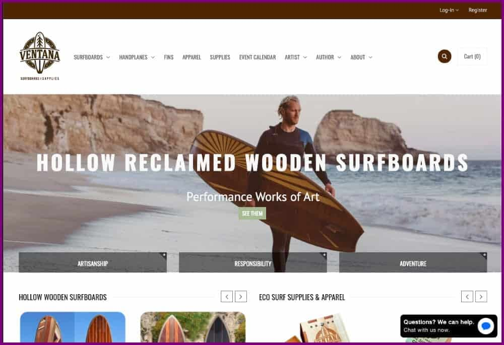 Ventana - wooden surfboards Ecommerce shop