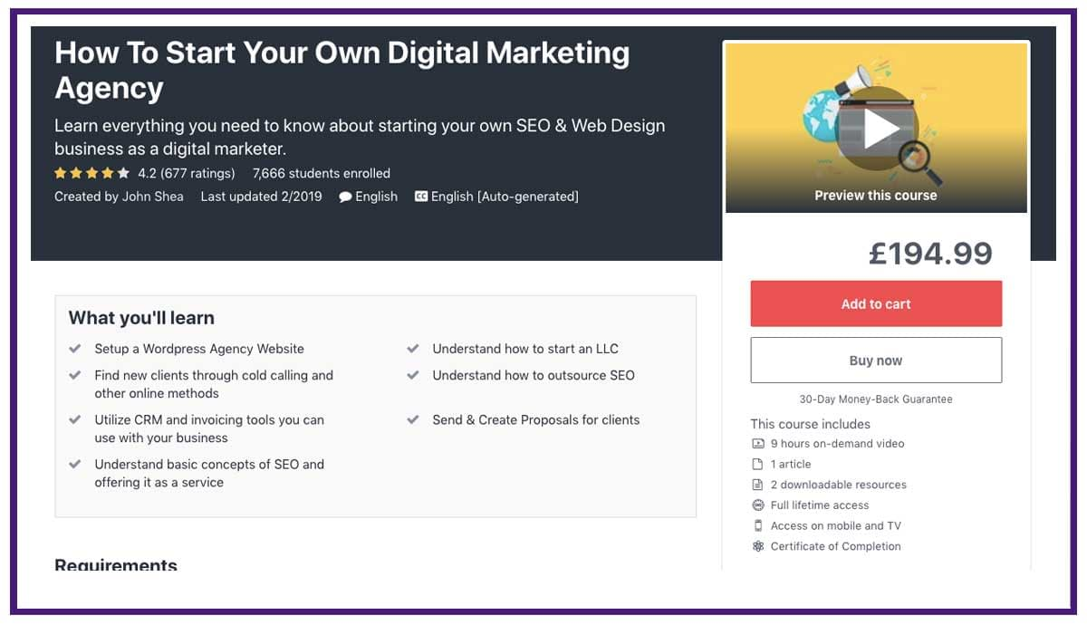How to Start a Digital Agency Course Udemy