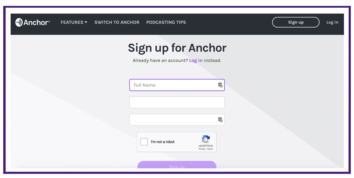 sign up page for anchor