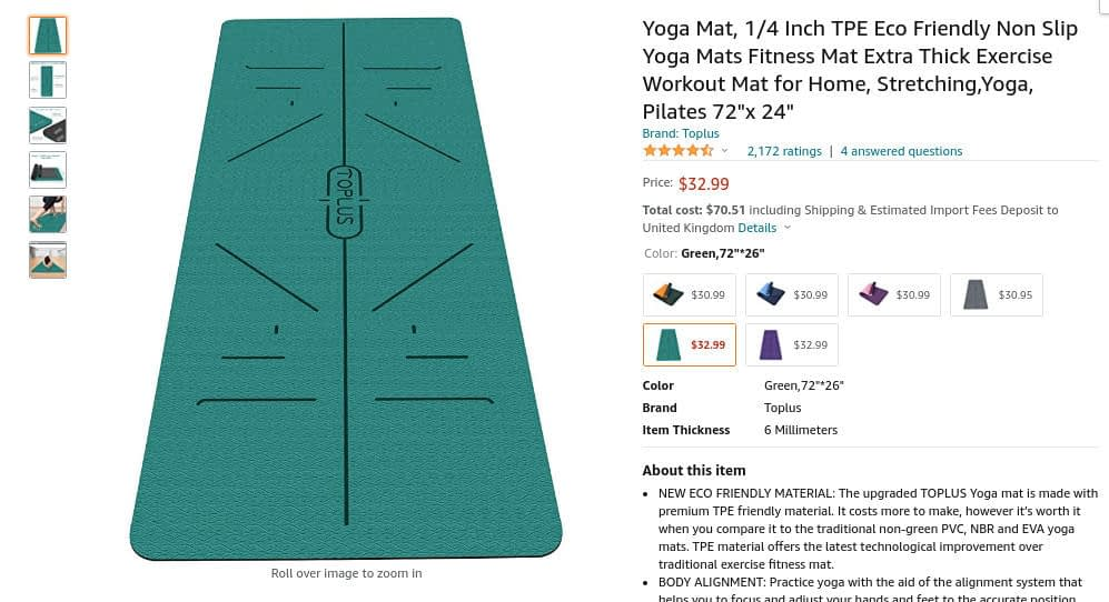 example of what to sell on Amazon - Yoga mat