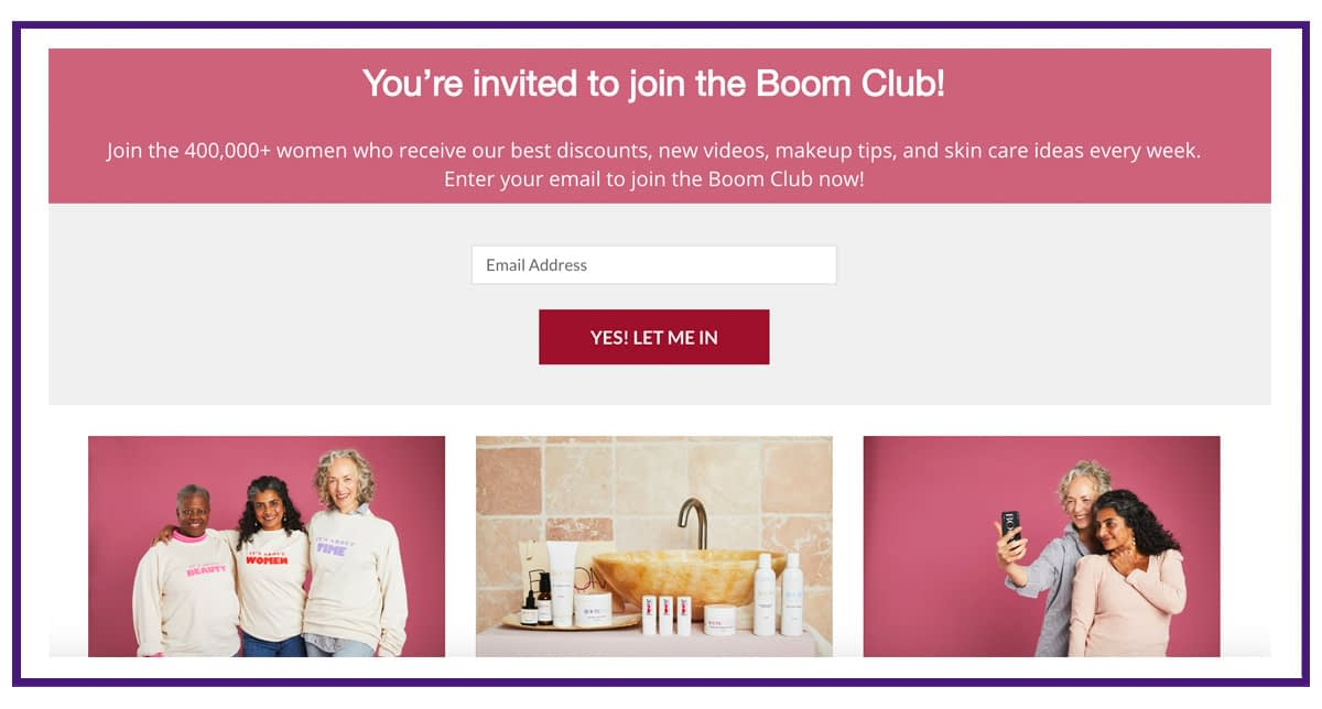 boom email list building lead magnet example 2