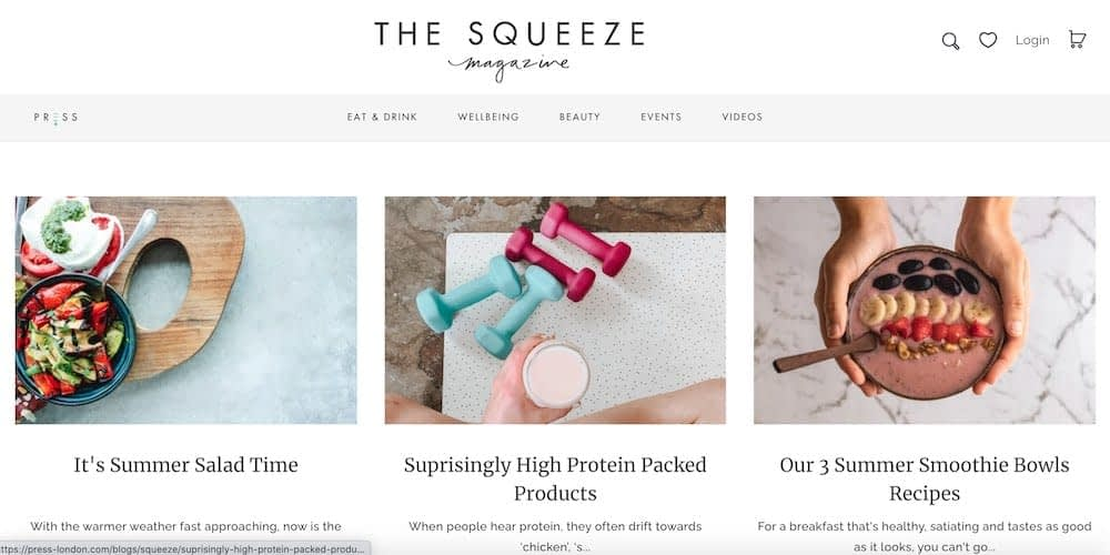 blog content marketing example - the squeeze