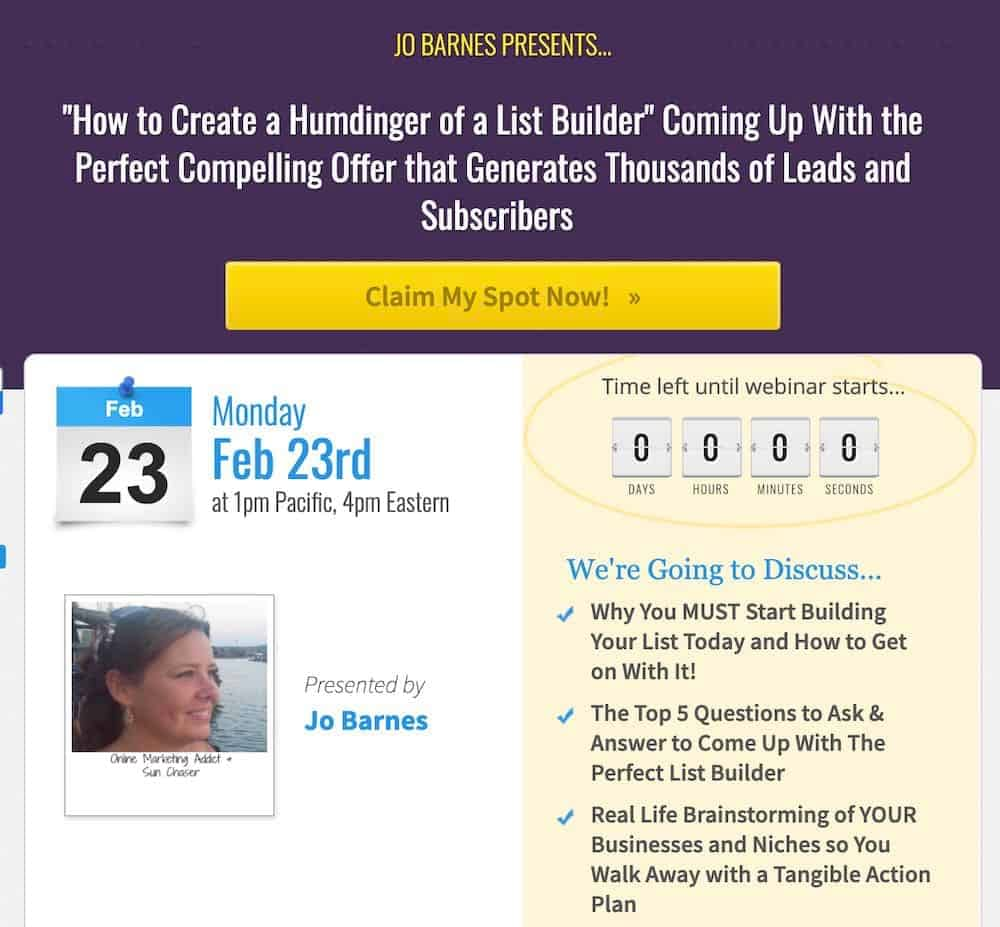 Jo Barnes - webinar lifestyle business idea