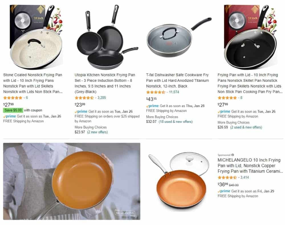 frying pan image - a potential product to sell on Amazon