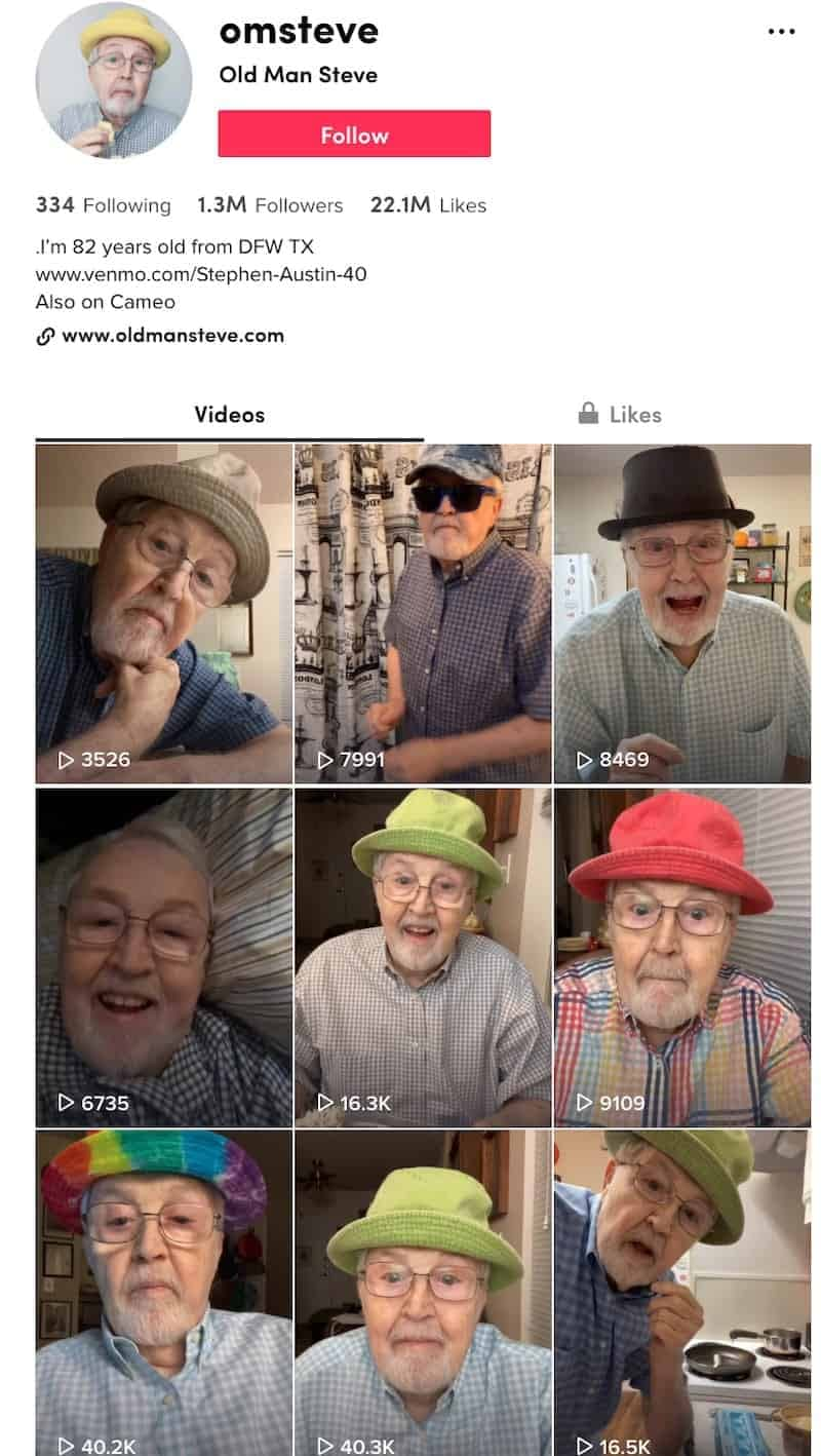 old man steve tik tok influencer