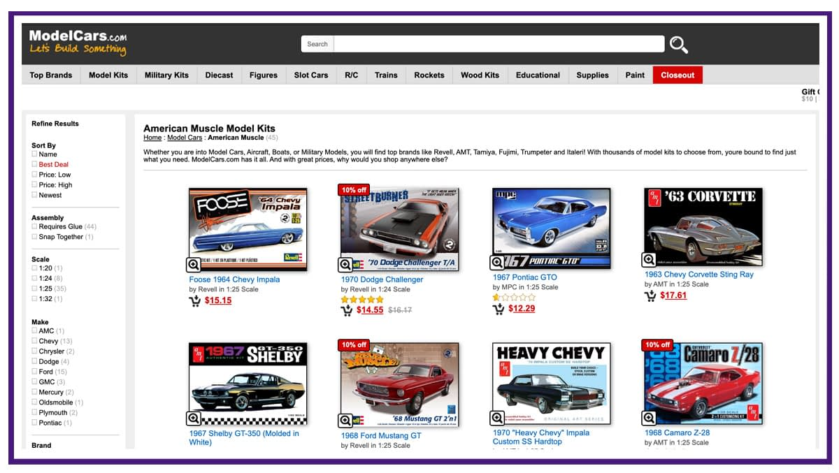 ecommerce business example - model cars