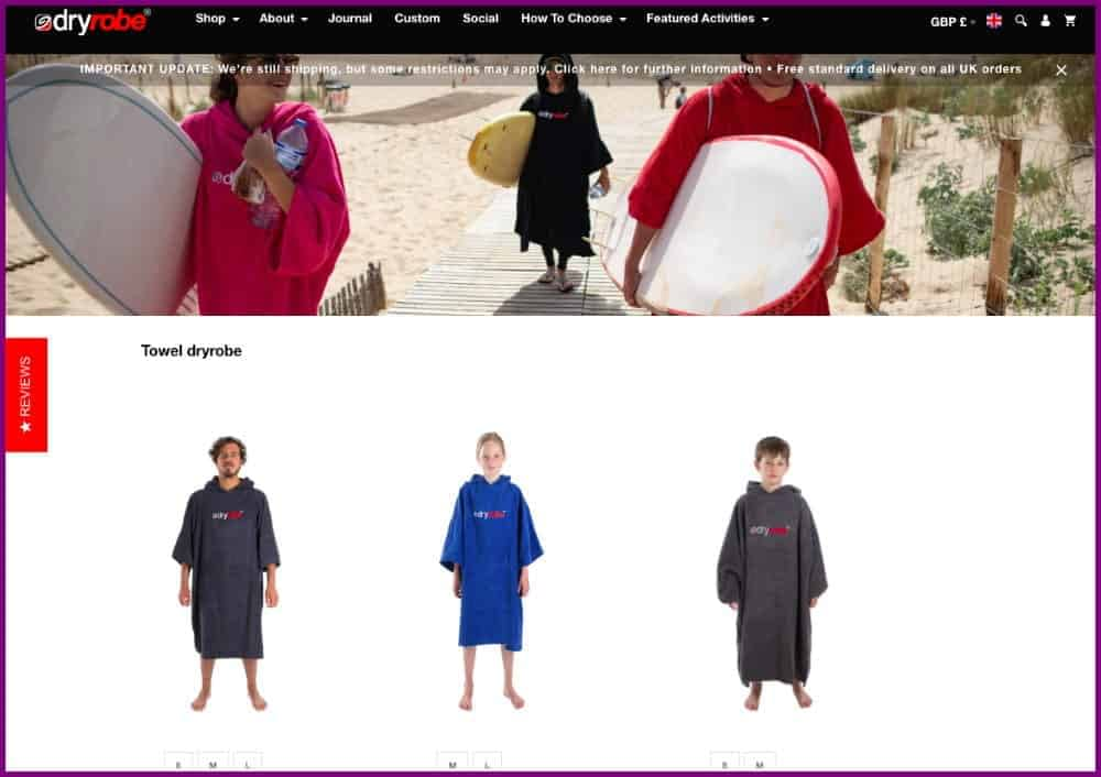 DryRobe - Ecommerce website