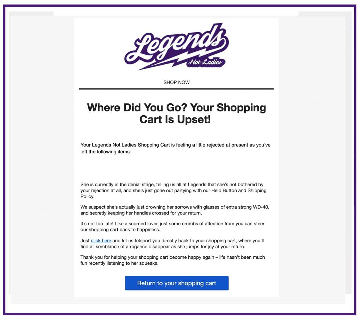 ecommerce abandoned cart email 1