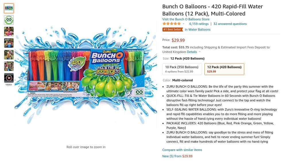 example of what to sell on Amazon - Water Balloons