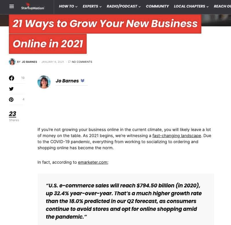 21 Ways to Grow Your New Business Online in 2021 - Guest post by Jo Barnes, Your Lifestyle Business and Is Blogging Dead author
