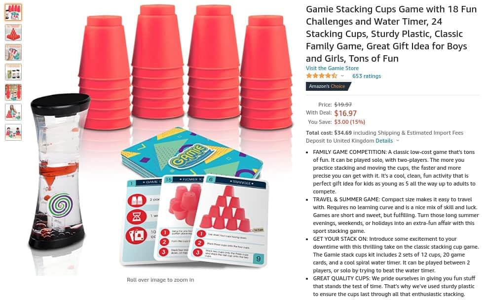 example of what to sell on Amazon - Gamle staking cups game