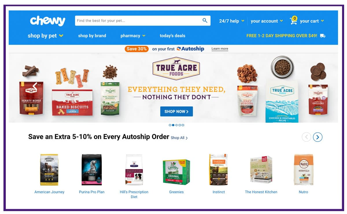 ecommerce business example - pet products